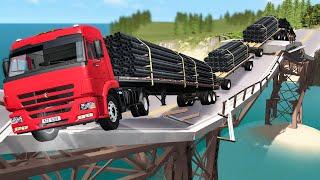 Breakable Bridge Traffic Jam #1 - Beamng drive