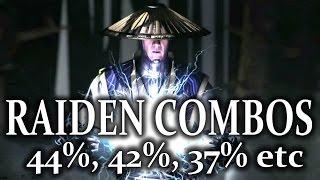 Mortal Kombat X: Raiden - Biggest Combos! Displacer Variation! MKX Raiden Day 1!