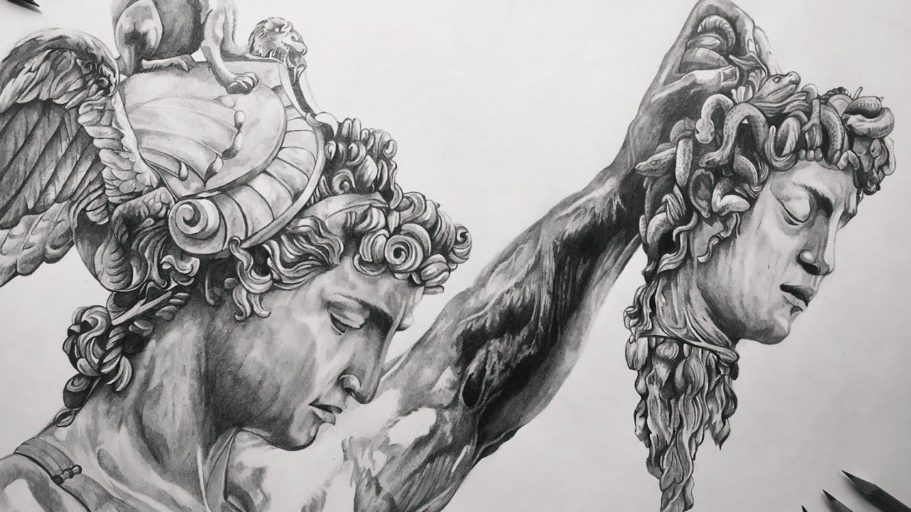 Perseo Y Medusa Dibujo Rápido Speed Drawing La Muerte De Medusa Mitologia Griega Youtube