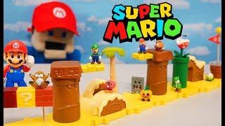 Super Mario Bros U Layer Cake Micro Desert Playset! World of Nintendo Figure Unboxing