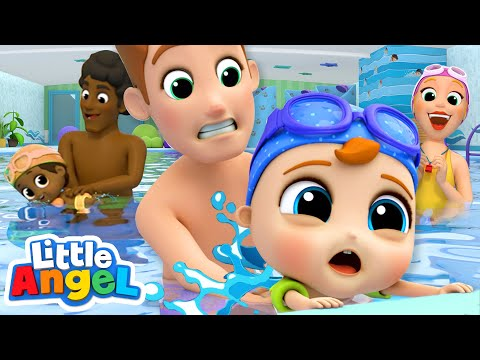 Swimming Lessons | Baby Learns To Swim | Kids Songs And Nursery Rhymes Little Angel