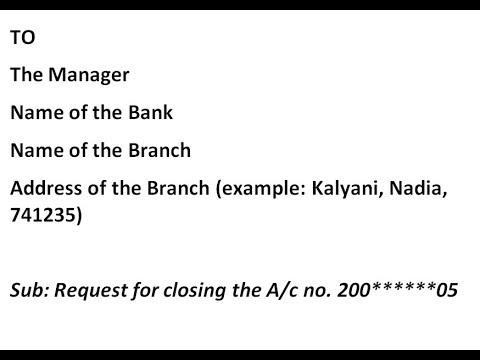 Bank Account Closing Application In Hindi