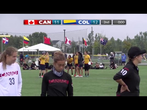 2018 World Jr. Ultimate Championships   Game 11 - Women: Canada vs Colombia   Aug. 21