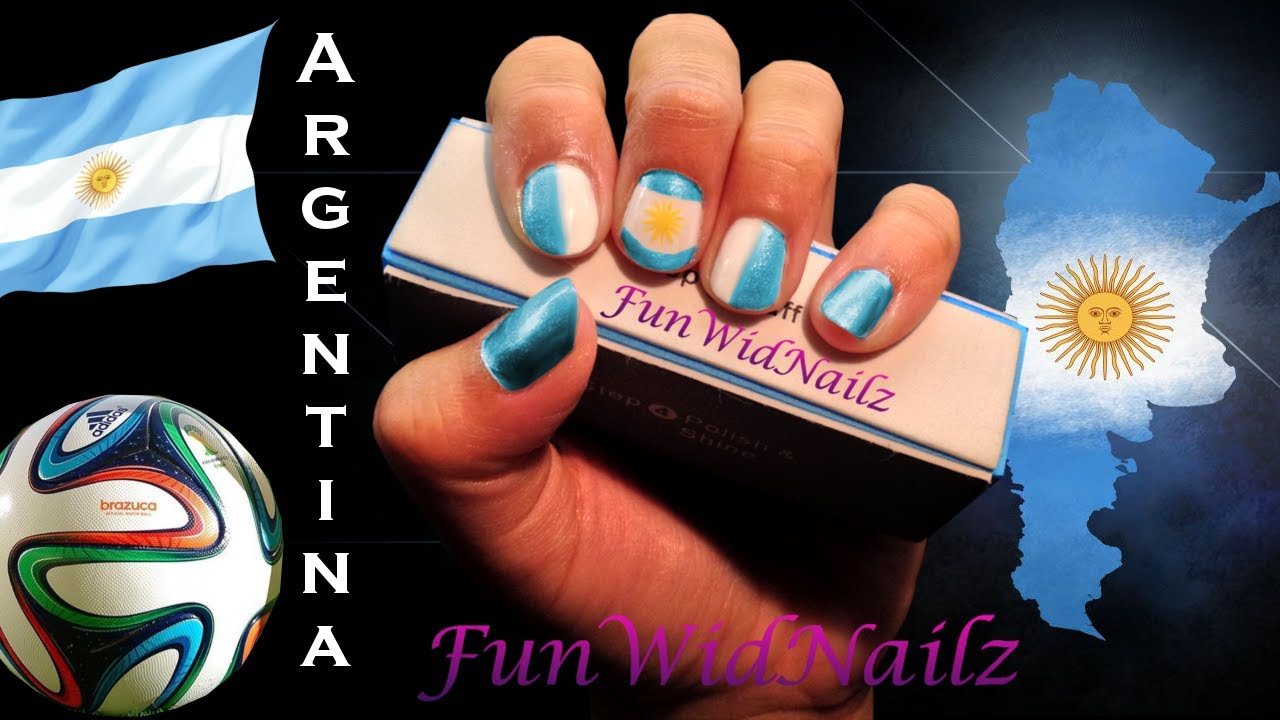 Argentina Nail Design-Vamos Argentina Flag For World Cup and copa ...