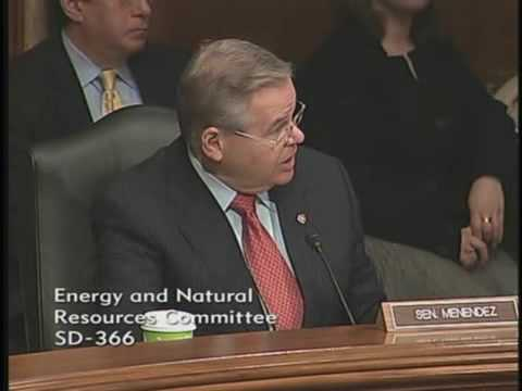Menendez questioning Sec. Ken Salazar at the Energy and Natural Resources Committee hearing