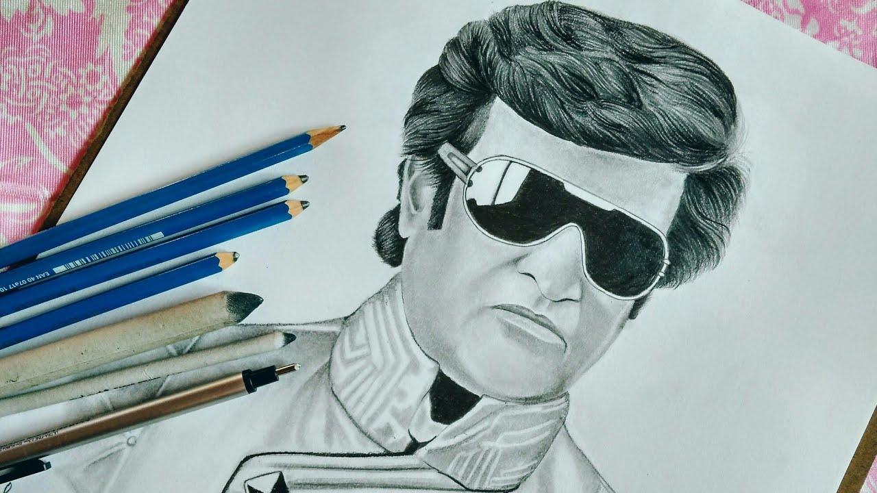 Pencil sketch of rajinikanth 😎🤗😍robot2 0chitti
