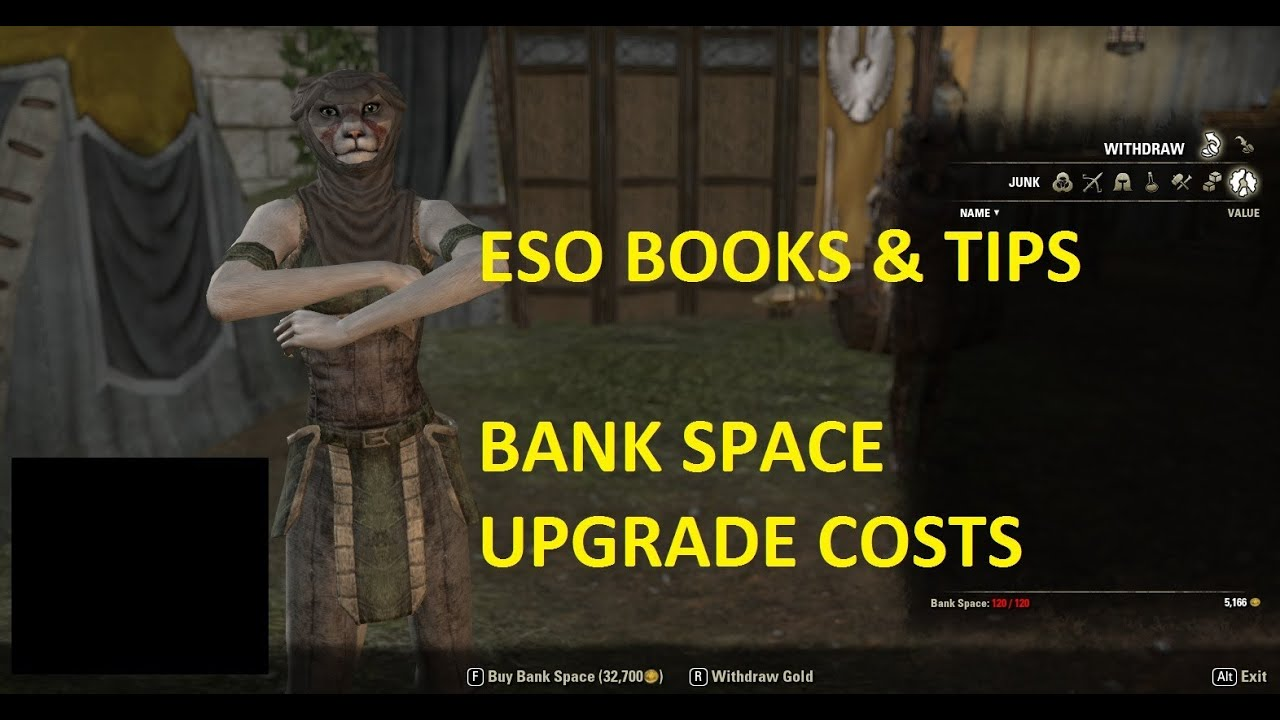 eso books tips bank space upgrade costs youtube