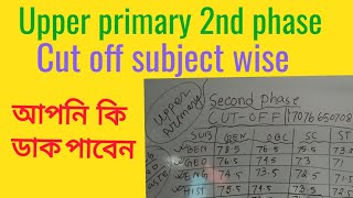 upper primary cut off marks 2nd phase subject wise( আপনার কত পেয়েছেন comment করুন ) Video