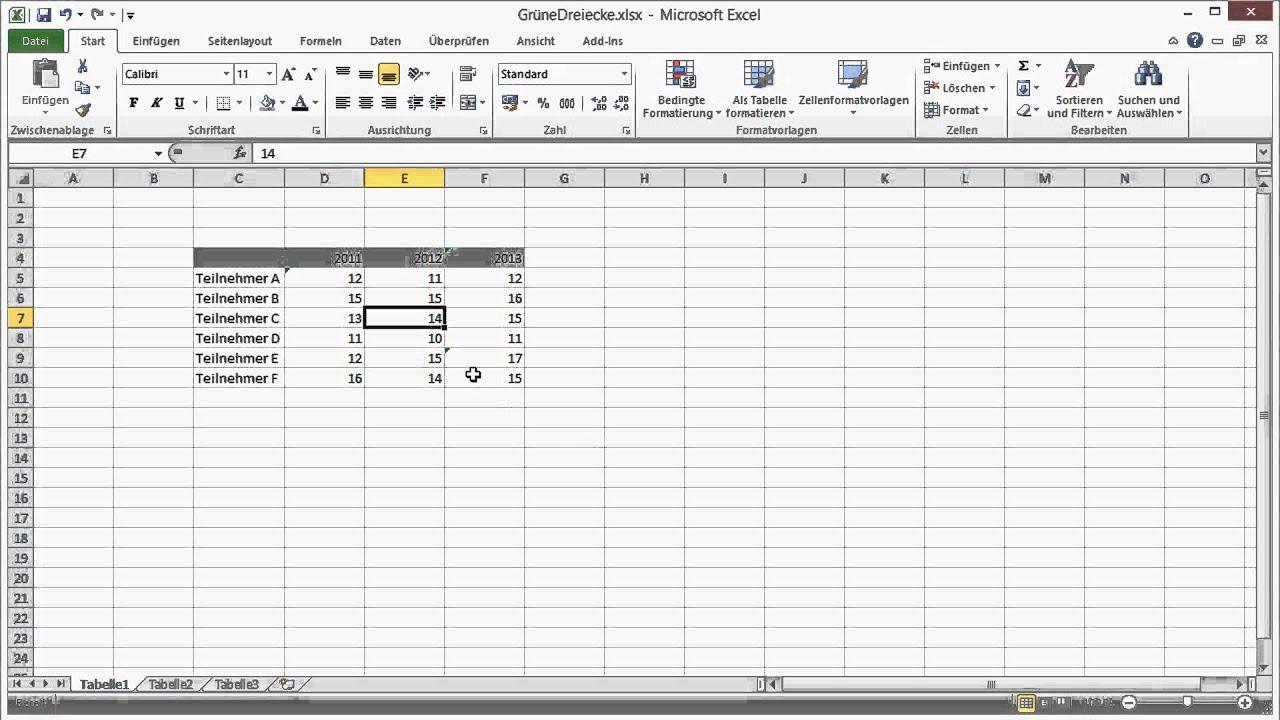 Excel Fehlererkennung - Grüne Dreiecke - YouTube