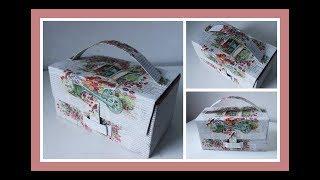 Reciclado de caja con decoupage sobre hojas de revistas - Maletín multiuso - Manualidades - DIY