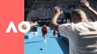 Ball girl flips out with Frances Tiafoe | Australian Open 2019