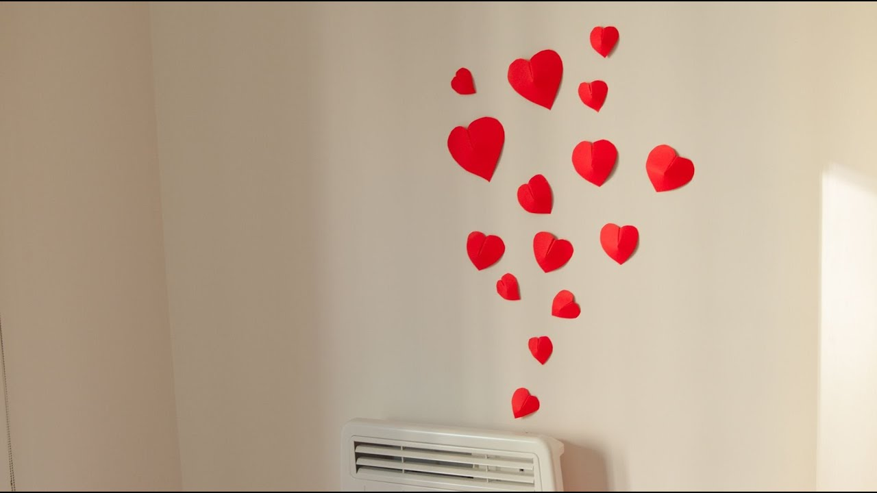 Diy how to make simple 3d heart wall decoration in 15min for Heart decorations for the home