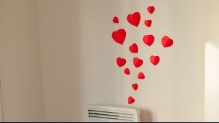 DIY How to make simple 3D heart wall decoration in 15min. (Wedding, Valenitne