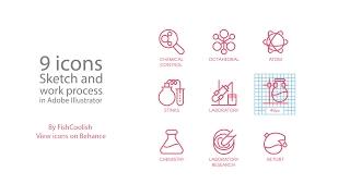Speed art - Chemistry icons in Adobe Illustrator (#38) (By FishCoolish)