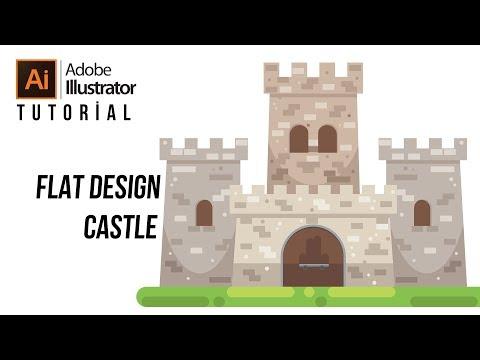 Flat Design Castle in Adobe Illustrator Tutorial thumbnail
