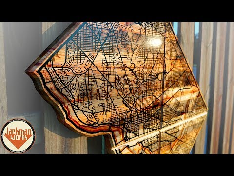 Reclaimed Wall Map with Epoxy Resin River and Road Inlay