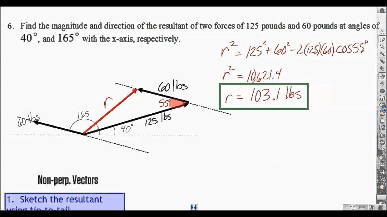 8 5 Non Perpendicular Vectors Part 2 Youtube Adding non perpendicular vectors