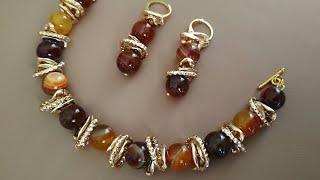 A set of jewelry: easy tutorial. Украшения из бусин