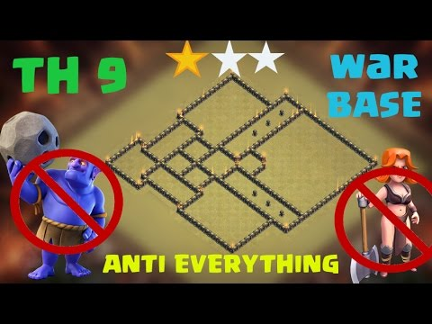 ⚔CLASH OF CLANS⚔ TH9 ANTI THREE STAR WAR BASE | ANTI EVERYTHING | 7X REPLAYS FROM TH10