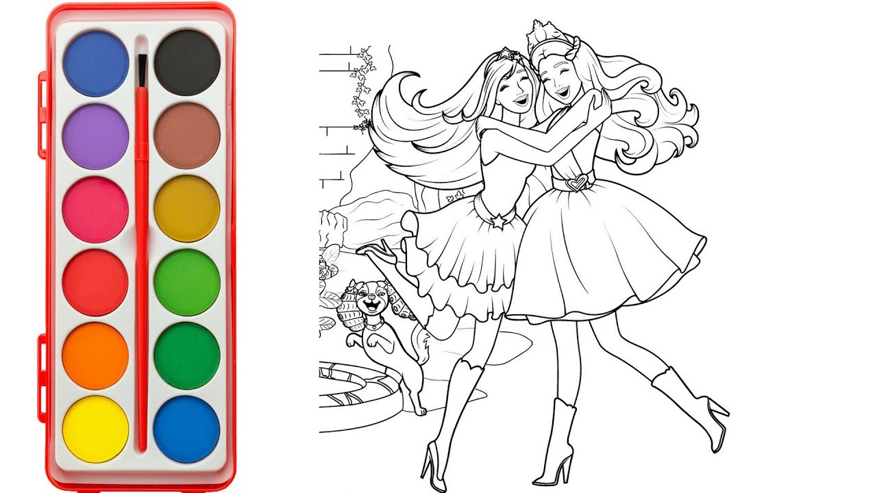 How to draw and color barbie princess and friends cartoon coloring pages funny video for kids