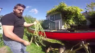 Lacing a canoe