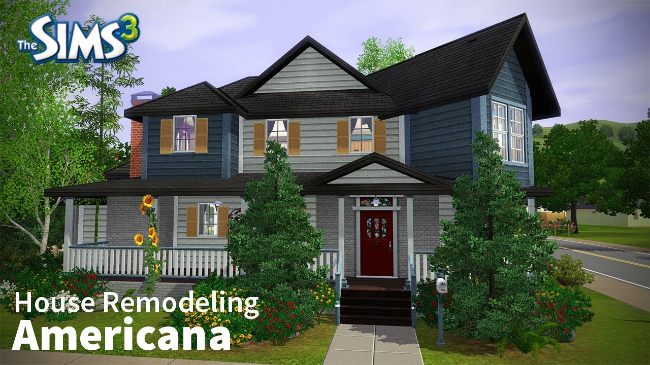 The sims 3 house remodeling americana base game only for Americana homes