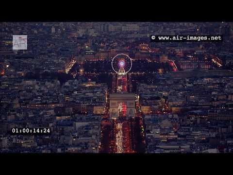 Aerial Footage by night Paris:  Arc de Triomphe / Invalides / Eiffel tower