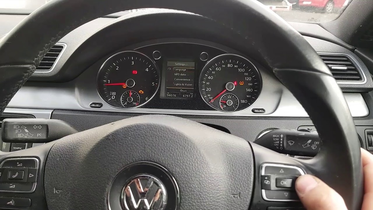 How to reset\ set tire light on 2014 vw passat cc