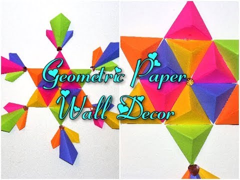 Geometric Paper Wall Decor || Wall Decor Ideas || DIY Wall Hanging Crafts
