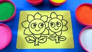 Đồ chơi trẻ em TÔ MÀU TRANH CÁT HÌNH BÔNG HOA PHIẾU BÉ NGOAN -Color Sand Paint