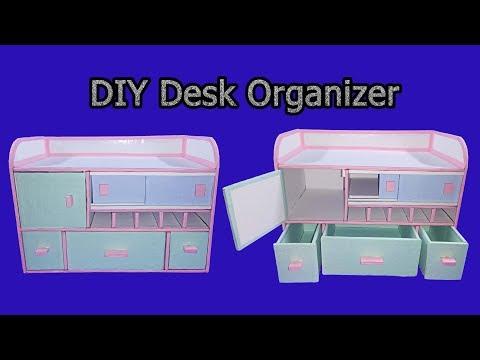 How to make Desk Organizer/ Drawer Organizer From Cardboard - DIY Tutorial