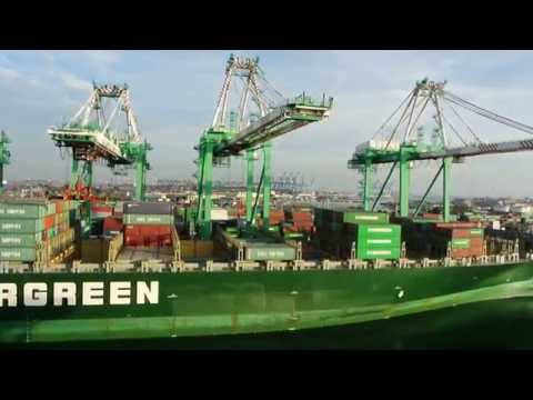 Evergreen Ever Conquest Container Ship at Port of Los Angeles