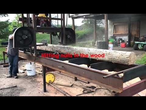 Homemade sawmill in action
