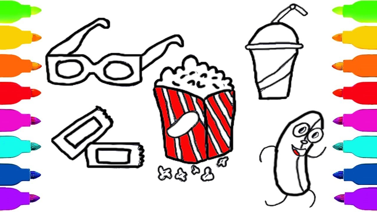How to Draw Kit for Cinema for Kids Coloring Pages Popcorn Coca ...