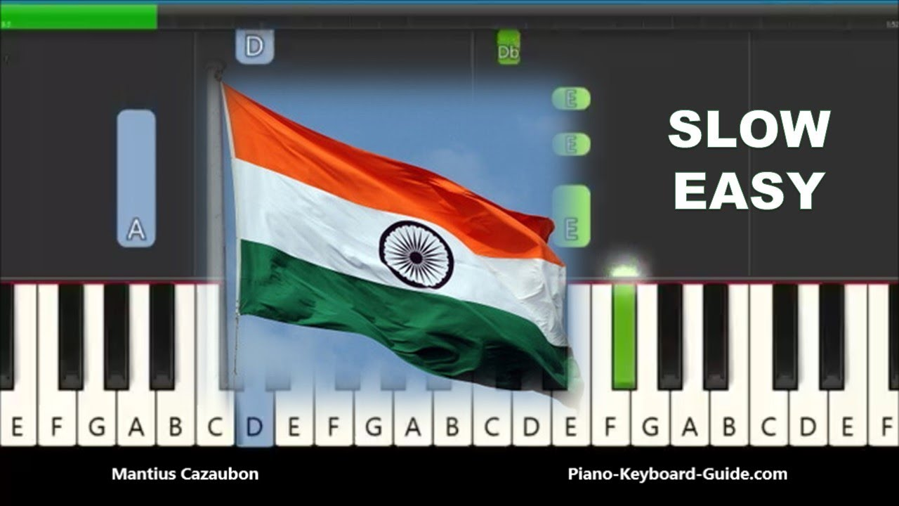 Jana Gana Mana Very Easy Piano Tutorial India National Anthem Notes