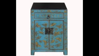 Turquoise Gold Butterfly Painting Nightstand End Table Chinese Antique Cabinet Wk2537