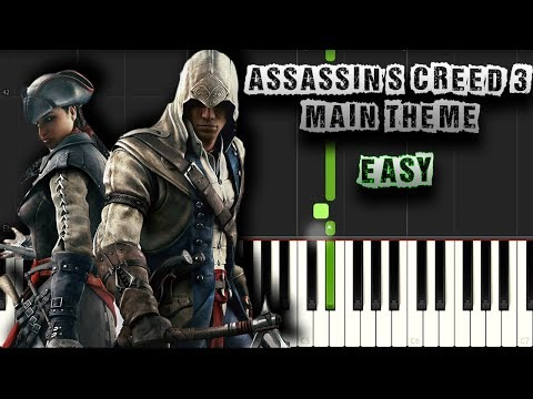 Assassin's Creed 3 - Main Theme - EASY - Piano Tutorial Synthesia (Download MIDI + PDF Sheets)