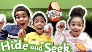 Hide And Seek With Giant Kinder Surprise Eggs!