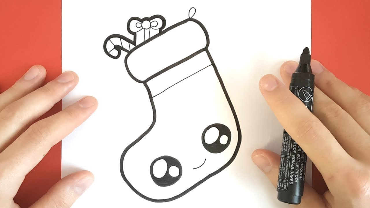 Drawings Of Christmas Stockings.How To Draw A Christmas Stocking Cute Step By Step