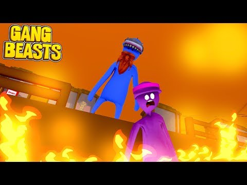 BARNEY VS PINK MONSTER!!! GANG BEASTS Little Kelly and Sharky