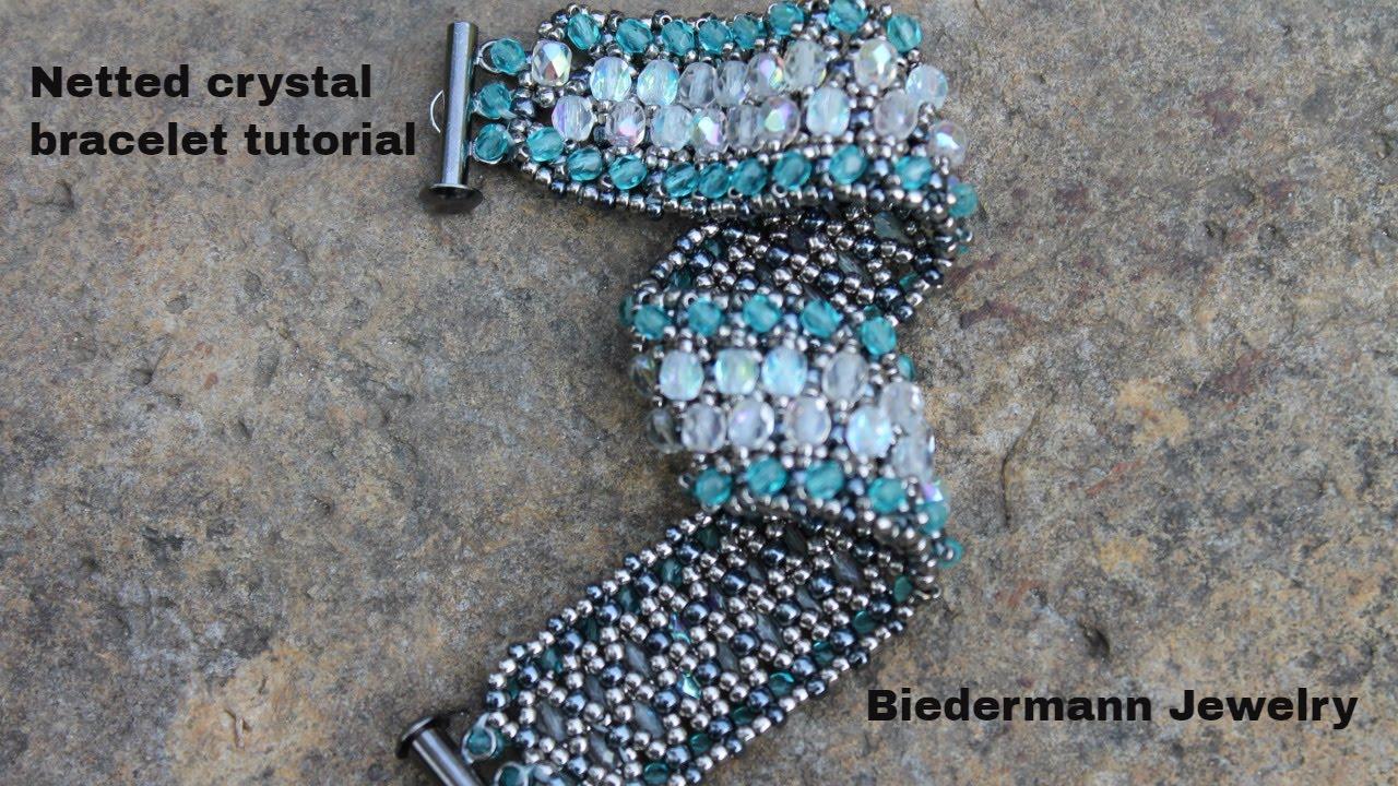 Netted Crystal Beaded Bracelet Tutorial Youtube