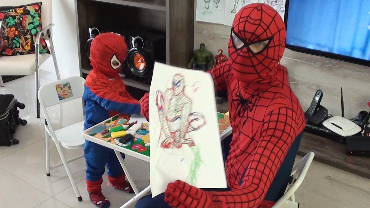Papai E Pequeno Homem Aranha Colorindo Pintando Desenho Dos Super Heróis