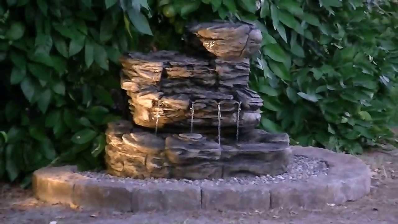 Infinity Hampton Bay Oasis Rock Fountain At Night Youtube