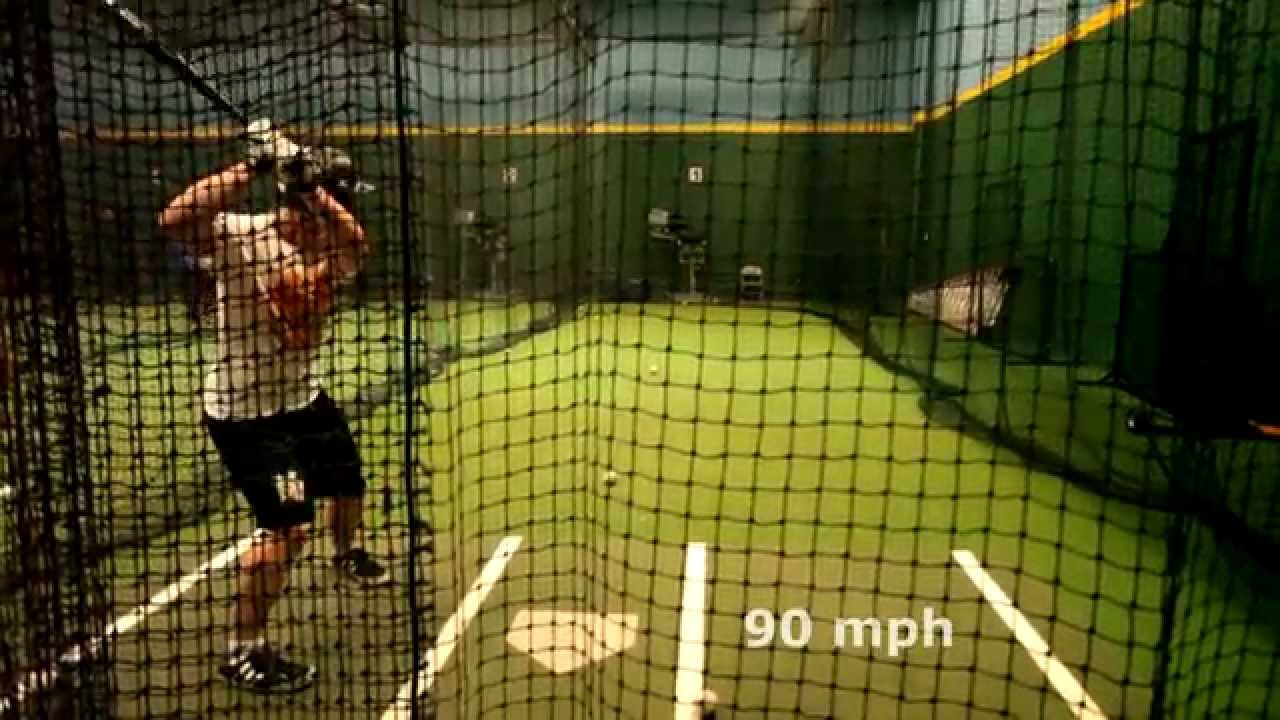 Hitting off Pitching Machine at 90mph with a Wood Southbat ...