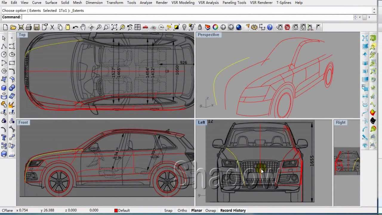 Vsr Shape Modeling For Rhino Tutorial Of Audi Q5 Part01 Youtube