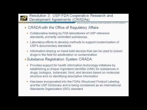 Town Hall Update for Resolution 3 -- USP's Relationship with FDA