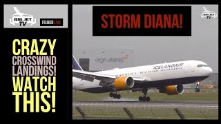 #StormDiana London Heathrow INSANE CROSSWIND LANDINGS!