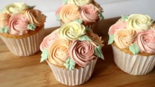 How to make Mather's Day Floral Cupcakes 母親節玫瑰花杯子蛋糕