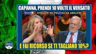 Vitalizio, Meloni a Capanna: Prendi 10 volte il versato e fai ricorso se ti tagliano 10%?