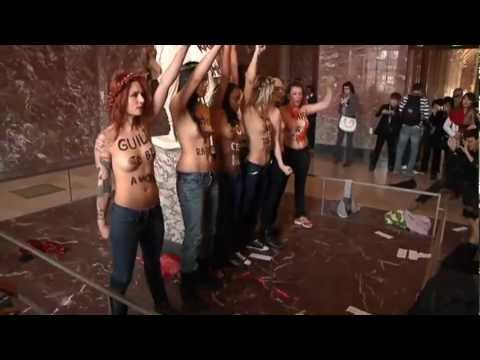 Topless Protest At The Louvre: Half-naked Femen Campaigners In Paris